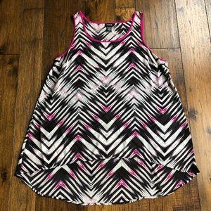 Torrid Pink, Black & White Striped sleeveless tank